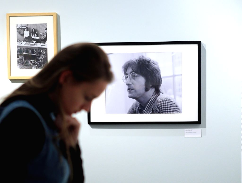 """HEIDELBERG, March 16, 2017 - A woman visits the exhibition """"Imagine John Lennon"""" at the Kurpfaelzische Museum in Heidelberg, Germany, on March 15, 2017. Opened on Wednesday the exhibition ..."""