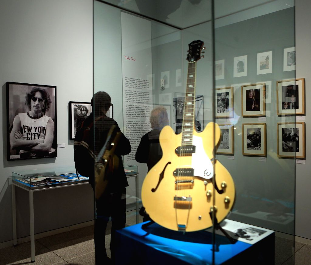 """HEIDELBERG, March 16, 2017 - People visit the exhibition """"Imagine John Lennon"""" at the Kurpfaelzische Museum in Heidelberg, Germany, on March 15, 2017. Opened on Wednesday the exhibition ..."""
