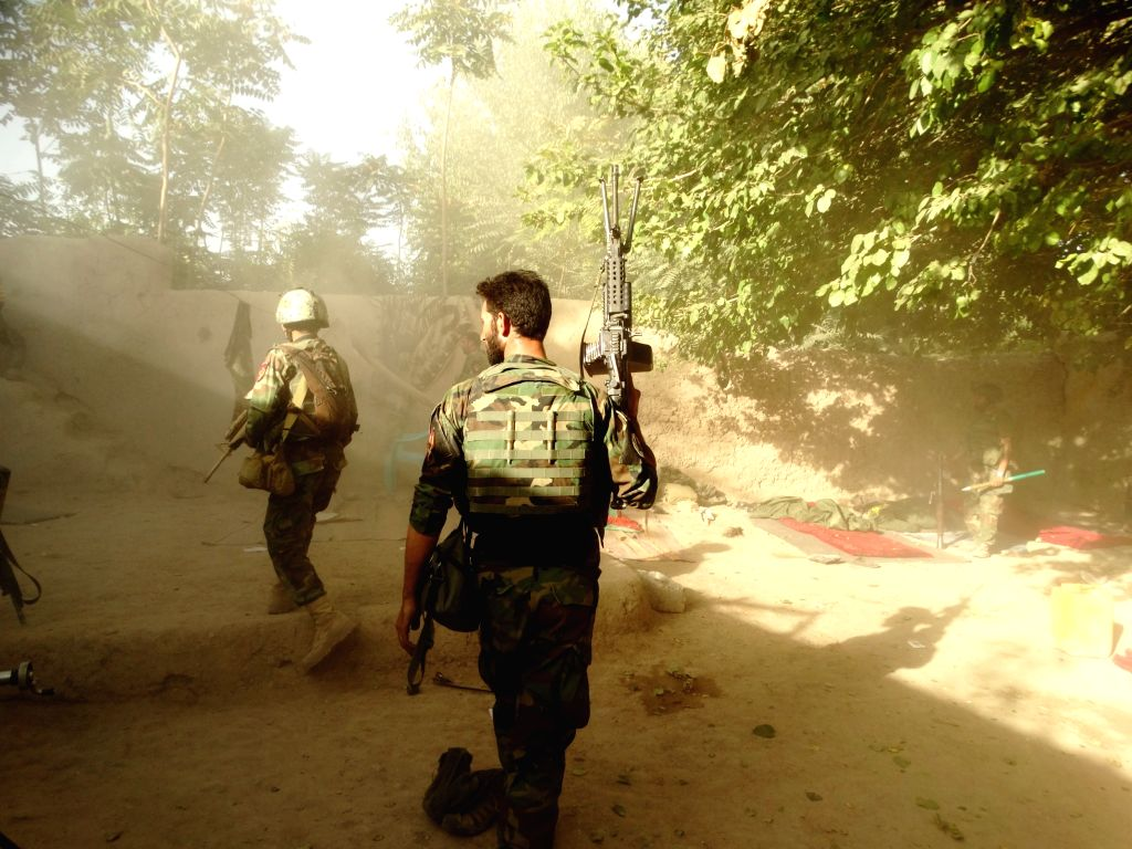 HELMAND, Aug. 15, 2016 - Soldiers take part in a military operation in Chah-e-Anjir district of Helmand province, Afghanistan, Aug. 14, 2016. Up to 25 militants were killed as warplanes targeted ...