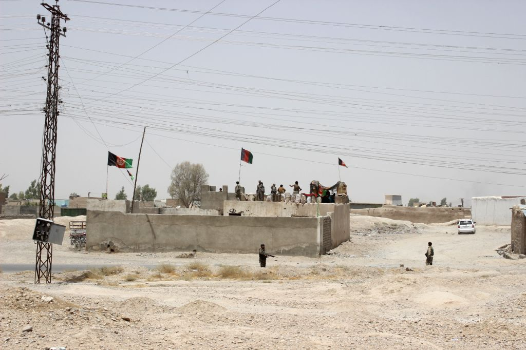 HELMAND, Aug. 4, 2017 - Photo taken on Aug. 4, 2017 shows the clash site in Gereshk district of southern Afghan province of Helmand. Over 40 Taliban insurgents and four soldiers were killed in ...