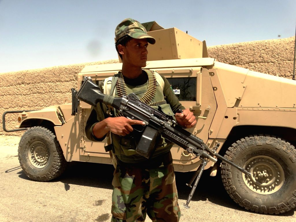 HELMAND, Aug. 9, 2016 - A soldier takes part in a military operation in southern Helmand province, Afghanistan, Aug. 9, 2016. Air strikes against Taliban outfit in Helmand province had killed 40 ...