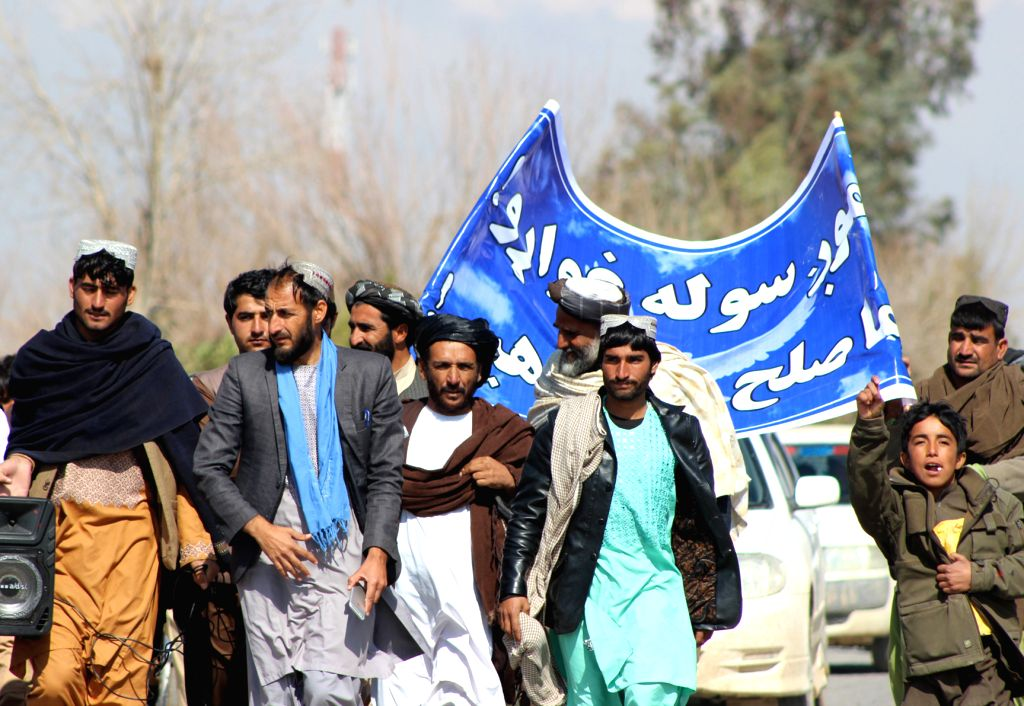 HELMAND, Feb. 19, 2019 - People take part in a demonstration calling for peace in Nad Ali district of Helmand province, Afghanistan, Feb. 18, 2019. Hundreds of Afghan people in the restive Nad Ali ...