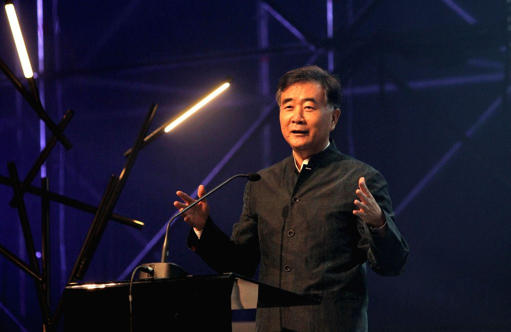 "Helsinki (Finland): Chinese Vice Premier Wang Yang delivers a speech during the opening ceremony of ""Slush 2014"" in Helsinki, Finland, on Nov. 18, 2014. Wang Yang said that China is a ..."