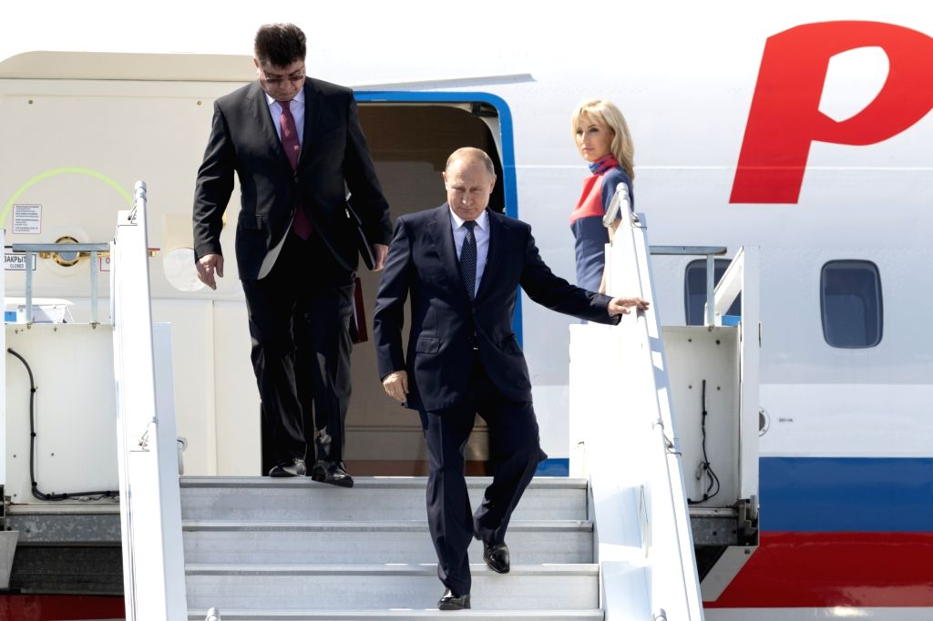 HELSINKI, July 16, 2018 - Russian President Vladimir Putin (front) arrives in Helsinki, Finland, on July 16, 2018. Russian President Vladimir Putin arrived here on Monday noon for the first formal ...