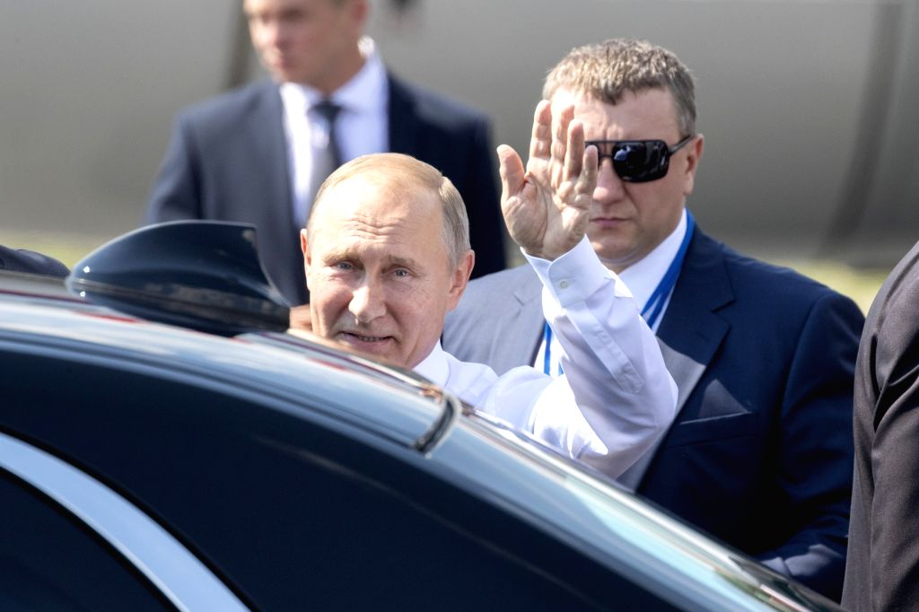 HELSINKI, July 16, 2018 - Russian President Vladimir Putin waves to people as he arrives in Helsinki, Finland, on July 16, 2018. Russian President Vladimir Putin arrived here on Monday noon for the ...