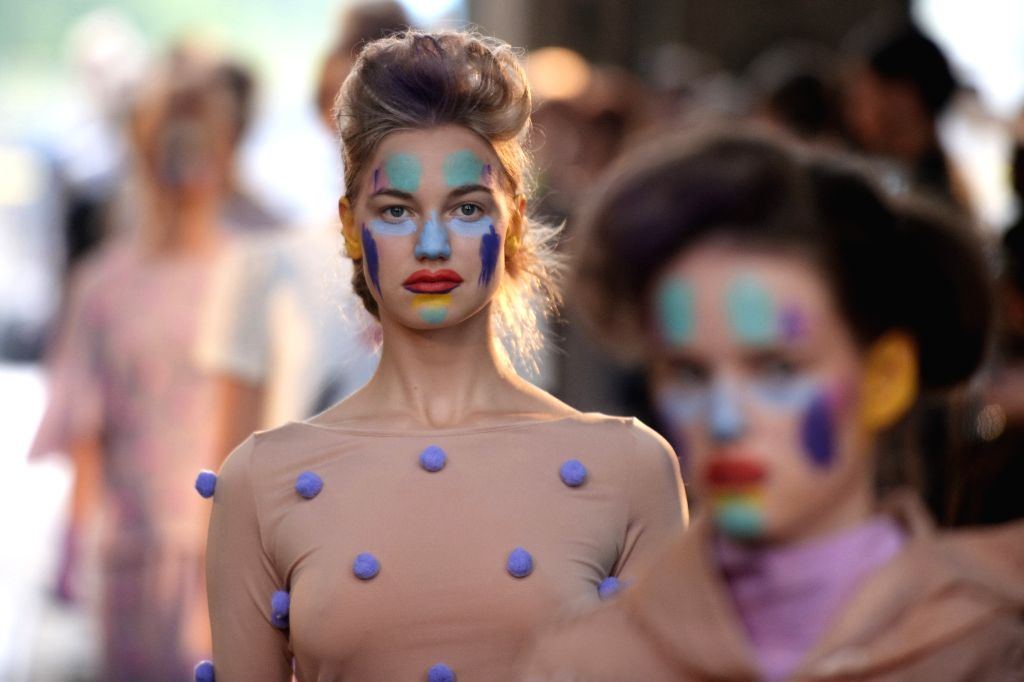 HELSINKI, July 23, 2016 - A model displays the latest collection of Russian fashion designer Sergey Bondarev during the Helsinki Fashion Week in Helsinki, Finland, on July 22, 2016. The Second ...