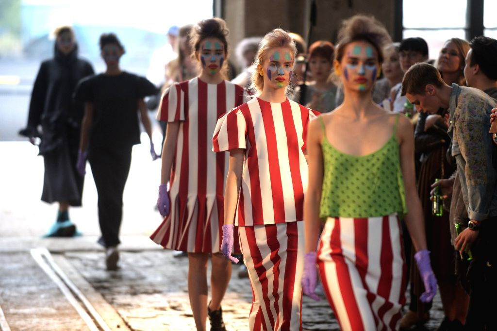 HELSINKI, July 23, 2016 - Models display the latest collection of Russian fashion designer Sergey Bondarev during the Helsinki Fashion Week in Helsinki, Finland, on July 22, 2016. The Second edition ...
