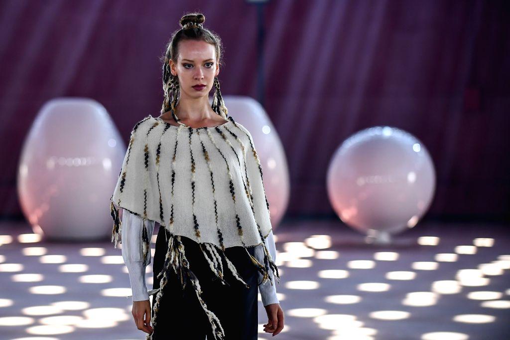 HELSINKI, July 25, 2018 - A model presents creations of Finnish designer Mai Niemi during the Helsinki Fashion Week 2018 in Helsinki, Finland, July 24, 2018.