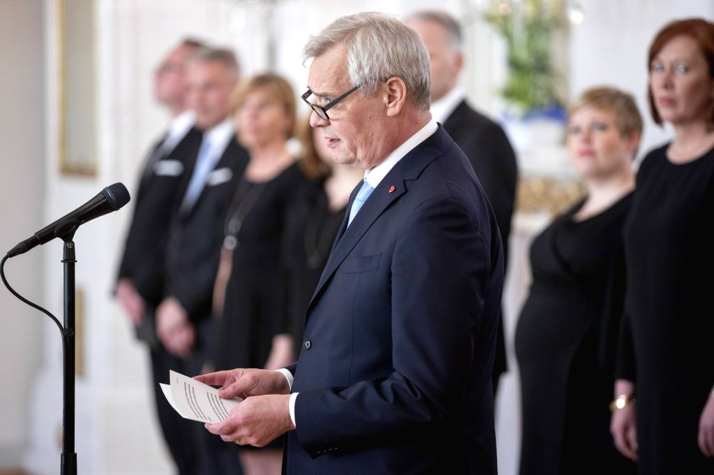 HELSINKI, June 7, 2019 - Finland's new Prime Minister Antti Rinne speaks during the swearing-in ceremony of the new government at the Presidential Palace in Helsinki June 6, 2019. The new Finnish ... - Antti Rinne