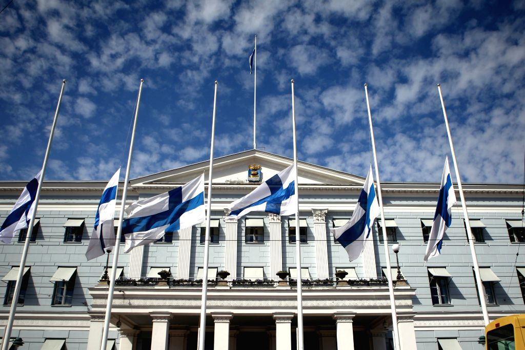 HELSINKI, May 13, 2017 - Finnish national flags fly at half mast in front of the Helsinki City Hall in Helsinki, Finland, on May 13, 2017, to mourn the former Finnish President Mauno Koivisto. Former ...
