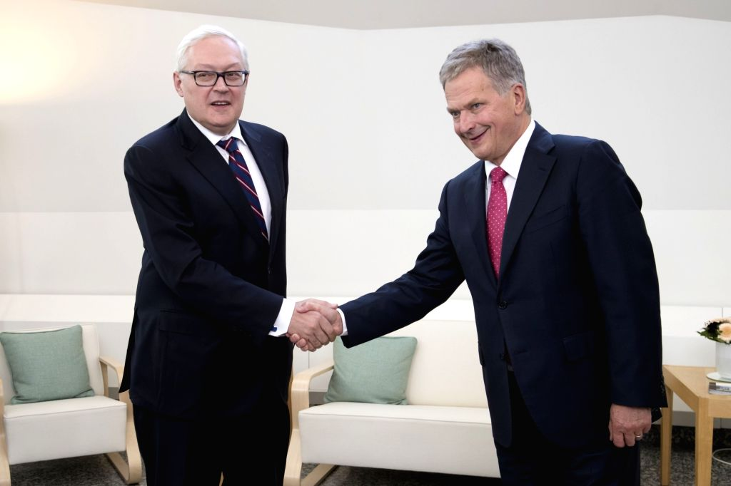 HELSINKI, Sept. 12, 2017 - Finnish President Sauli Niinisto (R) shakes hands with Russian Deputy Foreign Minister Sergei Ryabkov before their meeting in Helsinki, Finland on Sept. 12, 2017. Finnish ... - Sergei Ryabkov
