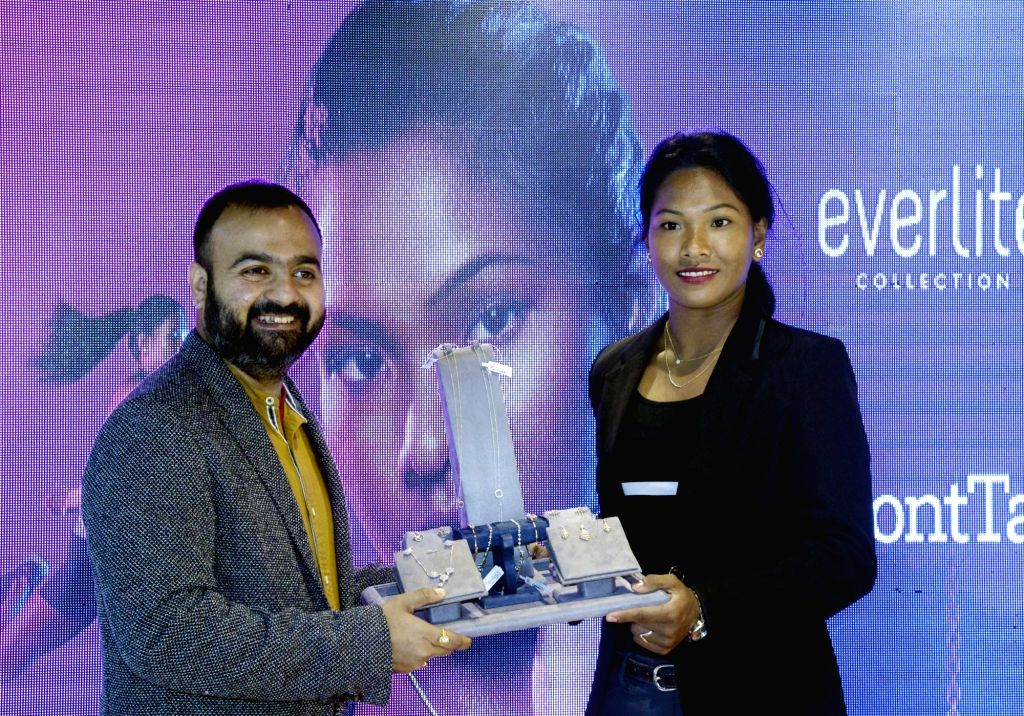 Heptathlete and Senco Gold and Diamonds Brand Ambassador Swapna Burman at the launch of a jewelry collection in Kolkata, on Sep 30, 2019.
