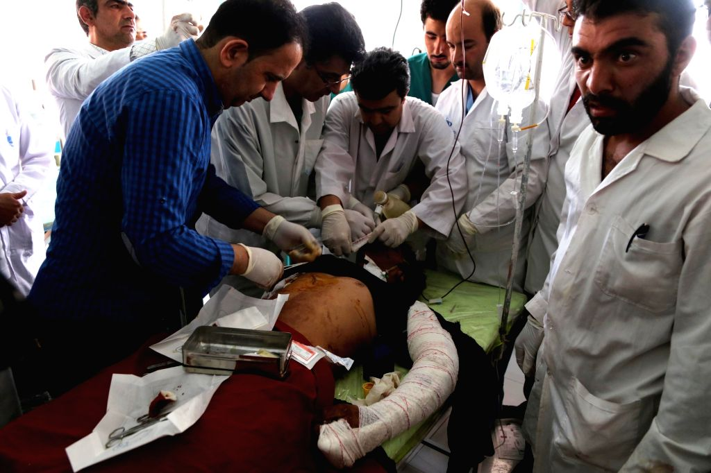 HERAT (AFGHANISTAN), July 30, 2016 An injured man receives medical treatment after a blast at a local hospital in Herat province, Afghanistan on July 30, 2016. One person was killed and ...