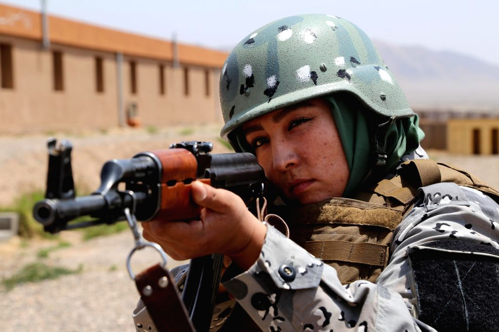 HERAT, July 30, 2016 - An Afghan border policewoman takes part in a military training at a training center in Herat province, Afghanistan, July 30, 2016. Afghan government has tried to increase the ...