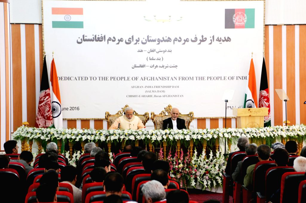 HERAT, June 4, 2016 - Afghan President Mohammad Ashraf Ghani (R) and Indian Prime Minister Narendra Modi attend the inauguration ceremony of an India-funded hydropower dam in Herat province, ... - Narendra Modi