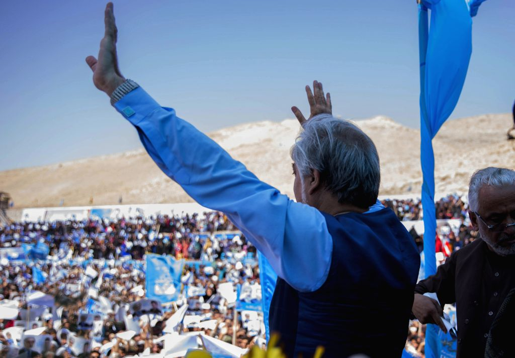 HERAT, Sept. 24, 2019 - Afghan presidential candidate Abdullah Abdullah attends an election campaign in Herat province, western Afghanistan, Sept. 24, 2019. The country is preparing for the upcoming ...