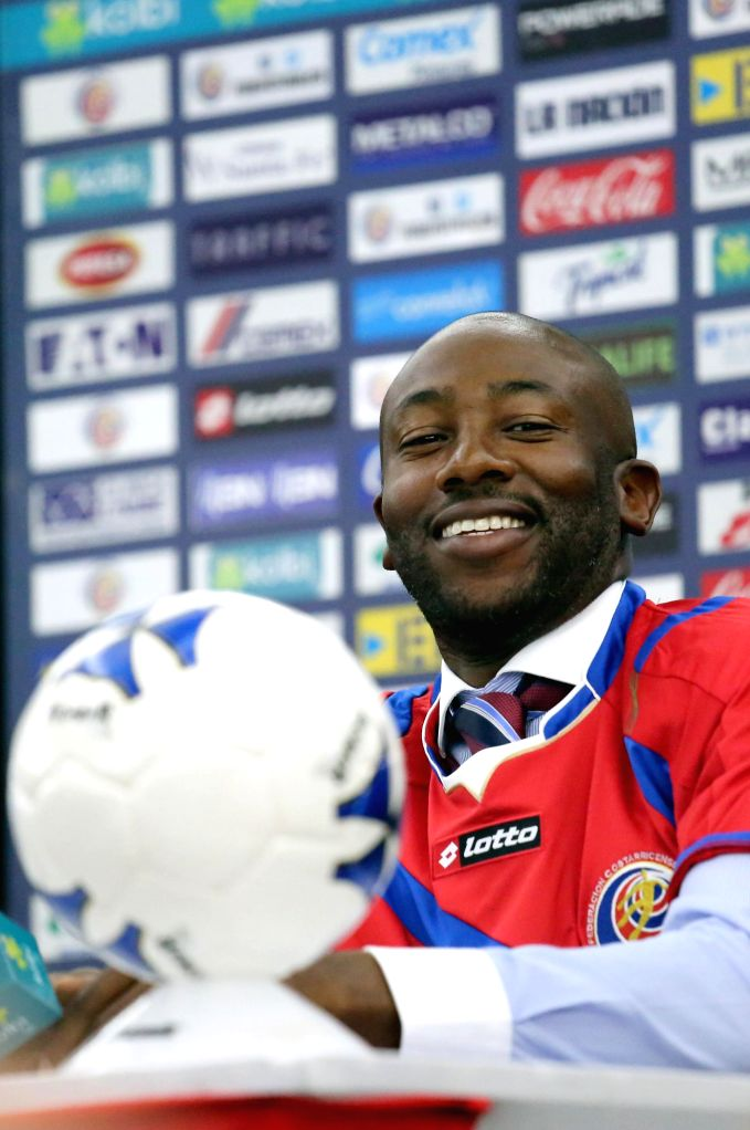 New head coach of the national soccer team of Costa Rica Paulo Cesar Wanchope reacts after a press conference for his presentation in Heredia, Costa Rica, Feb. 3, ...