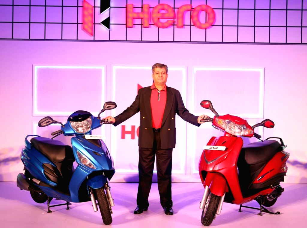 Hero MotoCorp Head of Sales, Marketing and Customer Care Ashok Bhasin during the launch of Hero`s Duet and and Maestro Edge scooters in Bengaluru on Oct 28, 2015.