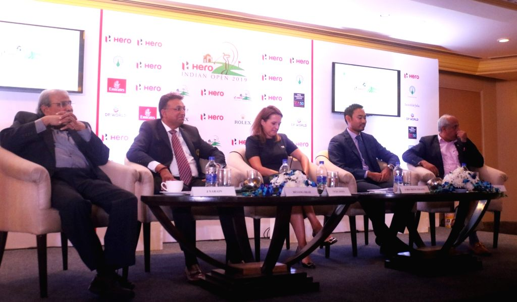 Hero MotoCorp Sports Advisor J. Narain, Golf Industry Association (GIA) Chairman Devang Shah, European Tour Client Services Director Vicky Jones, Asian Tour chief operating officer Cho ... - Devang Shah