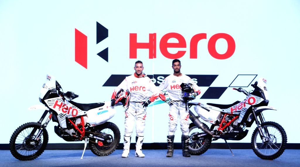 Hero MotoSports Team riders, Joaquim Rodrigues and CS Santosh during the Team introduction at Hero CIT in Jaipur on Sept 19, 2016.