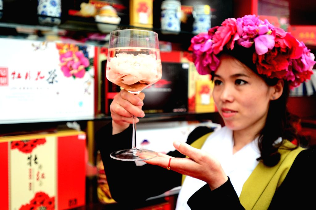 A visitor tastes herbal tea made of peony flowers at the Caozhou peony park in Heze City, east China's Shandong province, April 16, 2014. Heze, growing about 30,000 ..