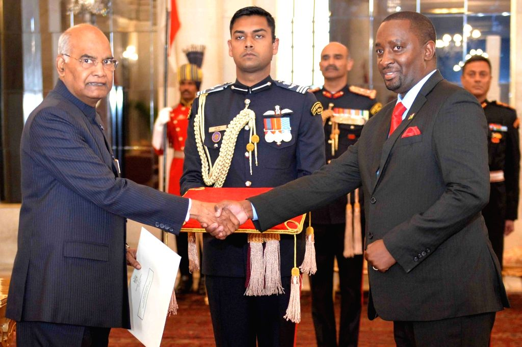 High Commissioner-designate of the Republic of Namibia, Gabriel P. Sinimbo presents his credentials to President Ram Nath Kovind at Rashtrapati Bhavan in New Delhi, on Feb 8, 2019. - Nath Kovind