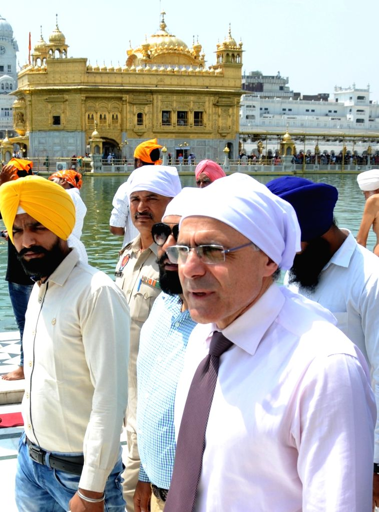 High Commissioner of Cyprus to India, Demetrios A Theophylactou during his visit to the Golden Temple in Amritsar on April 7, 2018.