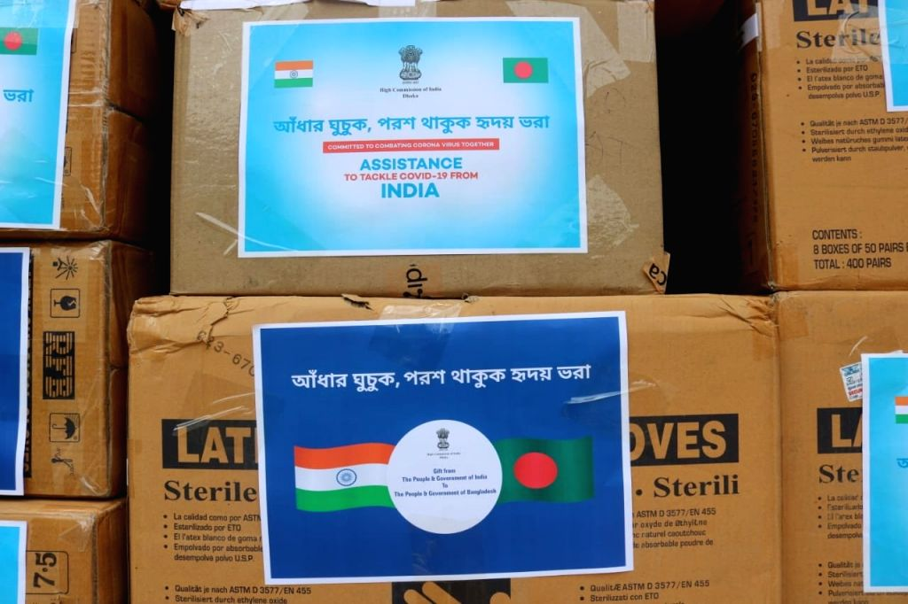 High Commissioner of India to Bangladesh Riva Ganguly Das dispatched second tranche of assistance containing 50,000 surgical gloves and one Lakh Hydroxychloroquine under the COVID-19 ...