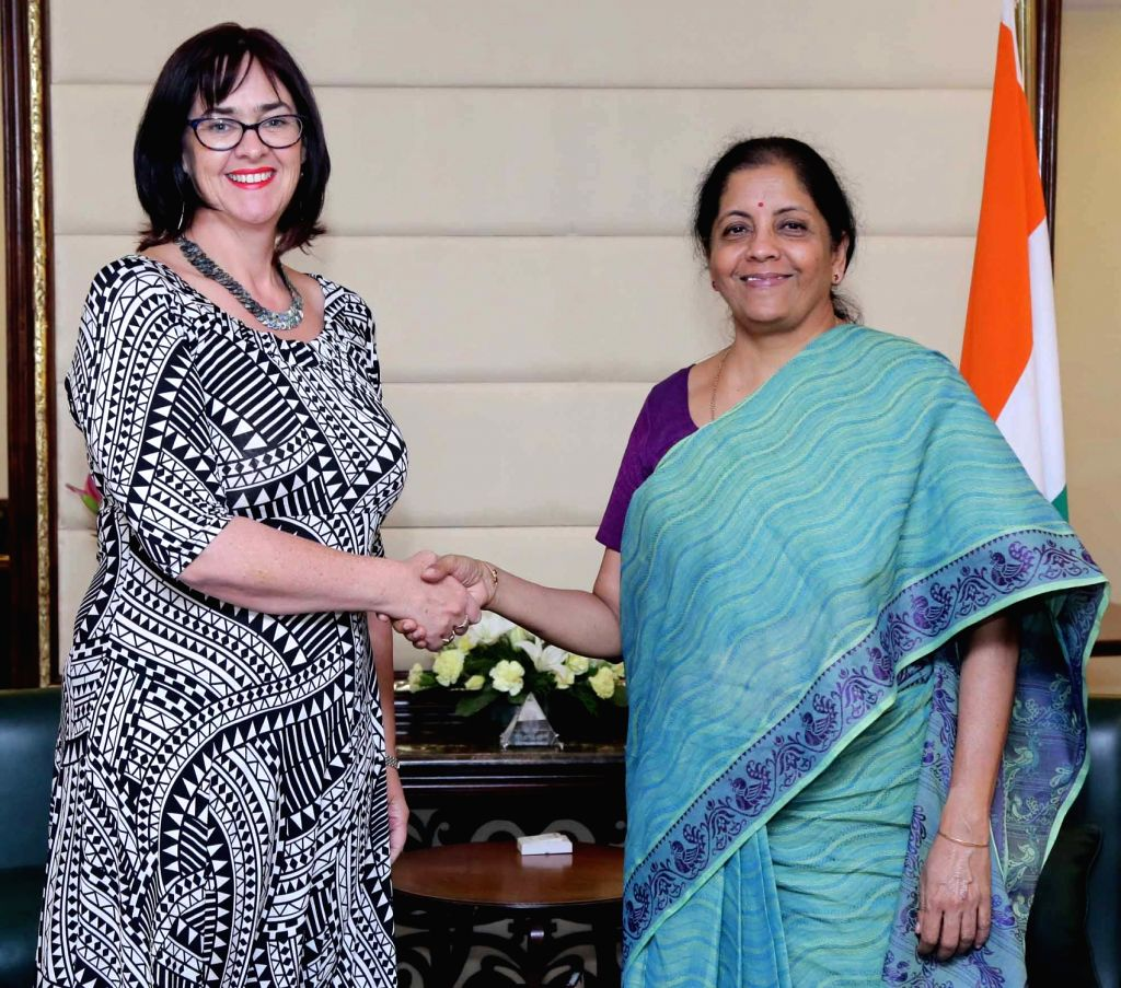 High Commissioner of New Zealand to India, Joanna Kempkers calls on Union MoS Commerce and Industry Nirmala Sitharaman in New Delhi on May 3, 2017.