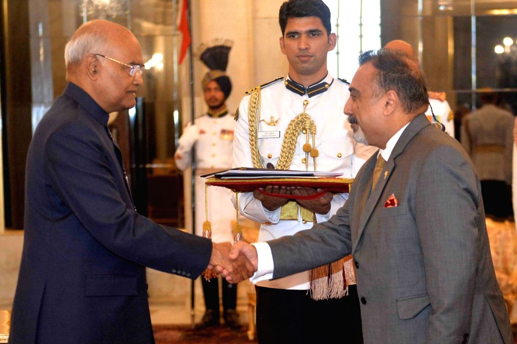 High Commissioner of the Republic of Fiji, Yogesh Punja presents his credentials to President Ram Nath Kovind at Rashtrapati Bhavan, in New Delhi on July 11, 2018. - Nath Kovind