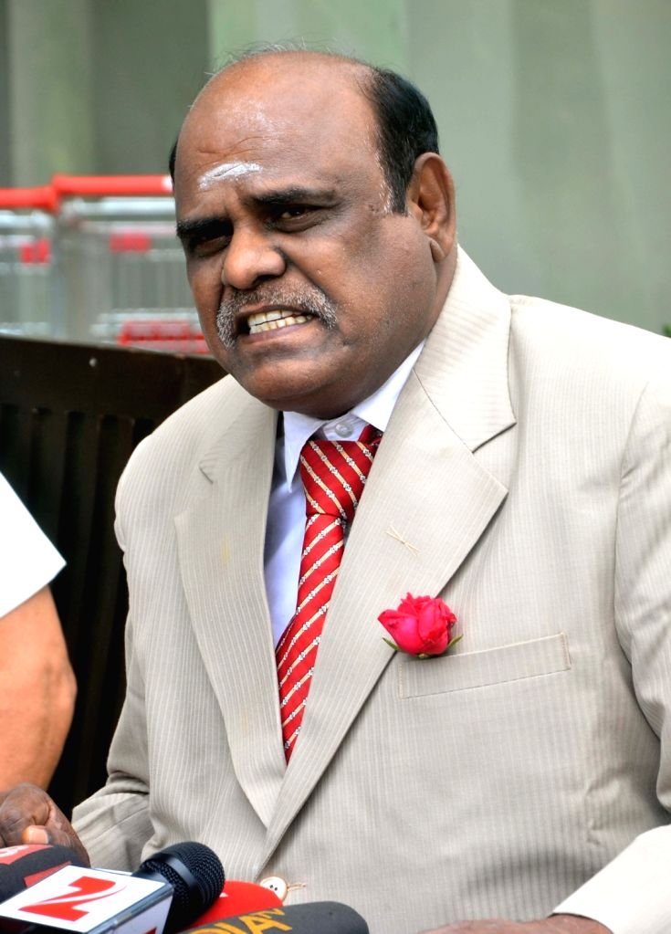 """High Court Justice C.S. Karnan terms the Supreme Court's order for conducting a medical examination on him as """"ridiculous"""", during press meet at his house in Kolkata on May 1, ..."""