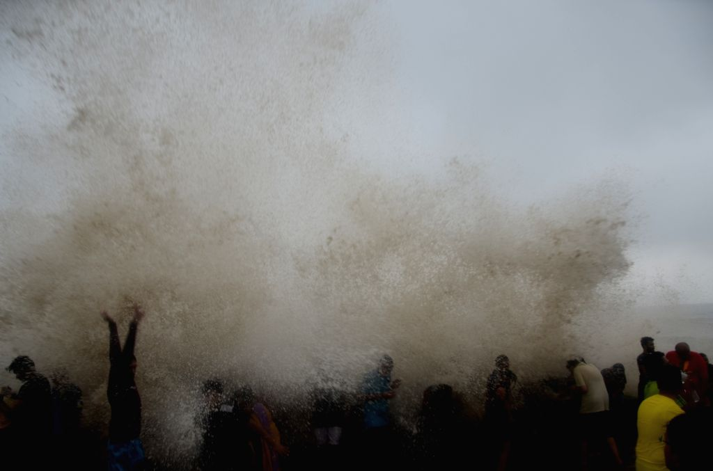 High waves hit the shore in Mumbai on June 25, 2017.