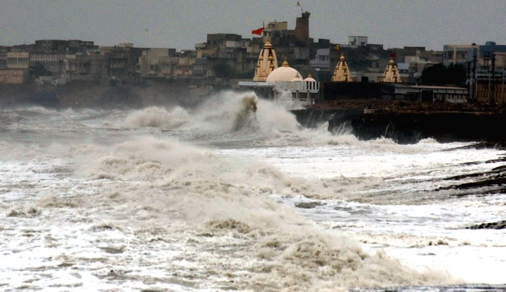 High waves lash the coast as Cyclone Vayu moves north-westwards skirting the Saurashtra coast in Gujarat while heavy rains have started lashing the coastal areas of the state, in Porbandar ...