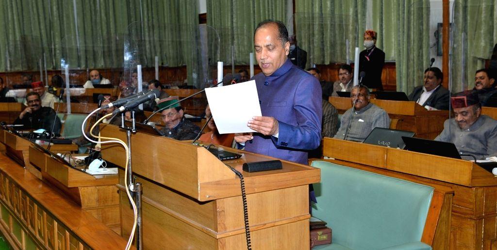 Himachal CM Jai Ram Thakur presenting the annual budget for the year 2021-22 in Vidhan Sabha, Shimla Saturday 06th March, 2021.