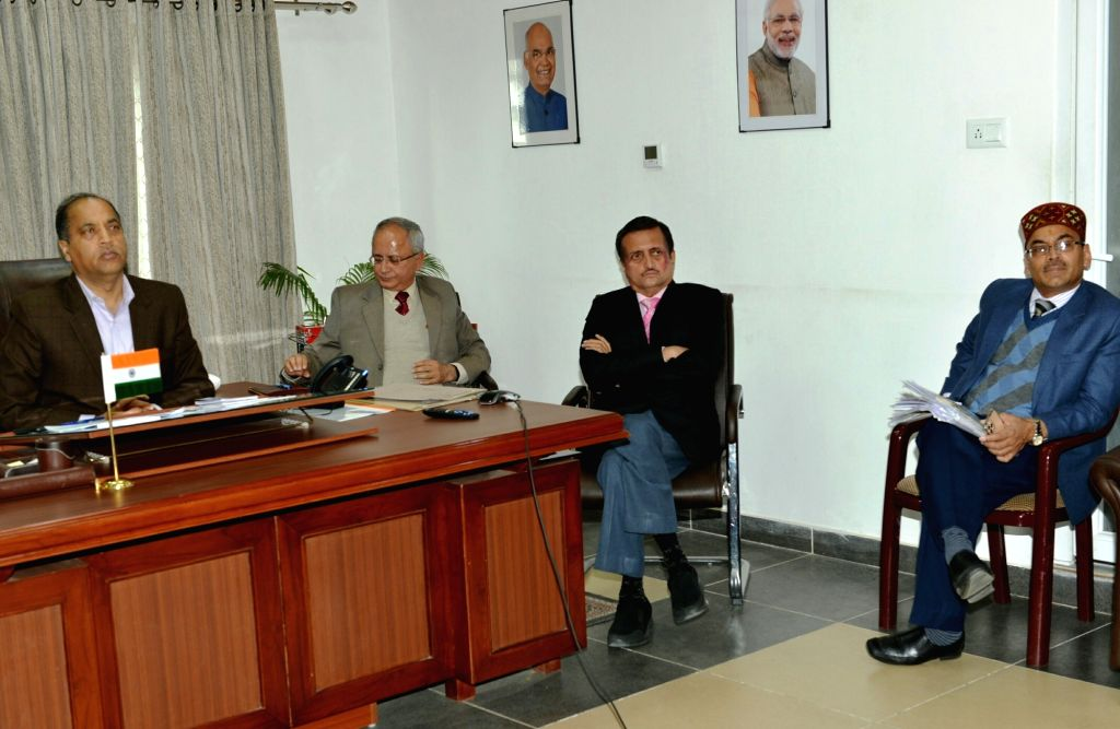 Himachal Pradeh Chief Minister Jai Ram Thakur holds a video conferencing with all the Deputy Commissioners and Superintendents of Police of the state to take stock of the situation in the ... - Jai Ram Thakur