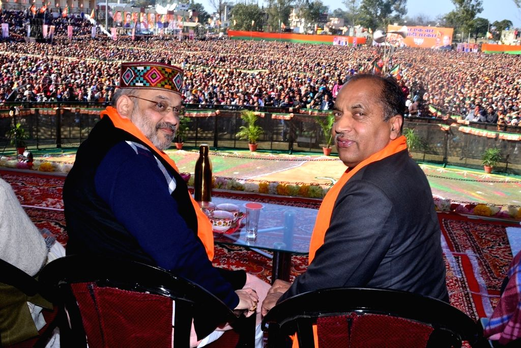 Himachal Pradesh Chief Minister and BJP leader Jai Ram Thakur with party President Amit Shah at a party meeting in Una, on Jan 28, 2019. - Amit Shah