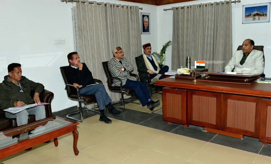 Himachal Pradesh Chief Minister Jai Ram Thakur chairs a high level meeting to review the situation arisen due to Covid-19, in Shimla on March 31, 2020. - Jai Ram Thakur