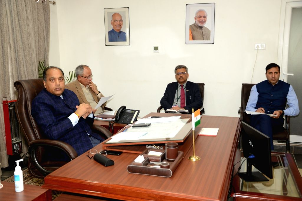 Himachal Pradesh Chief Minister Jai Ram Thakur presides over a meeting with the senior officers of the State Government to reviewed the situation of essential commodities, stock of plant ... - Jai Ram Thakur