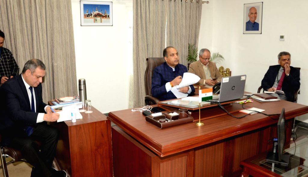 Himachal Pradesh Chief Minister Jai Ram Thakur interacts with the office bearers of Baddi, Barotiwala and Nalagarh Industrialists Association through video conferencing in Shimla, on Apr 1, ... - Jai Ram Thakur