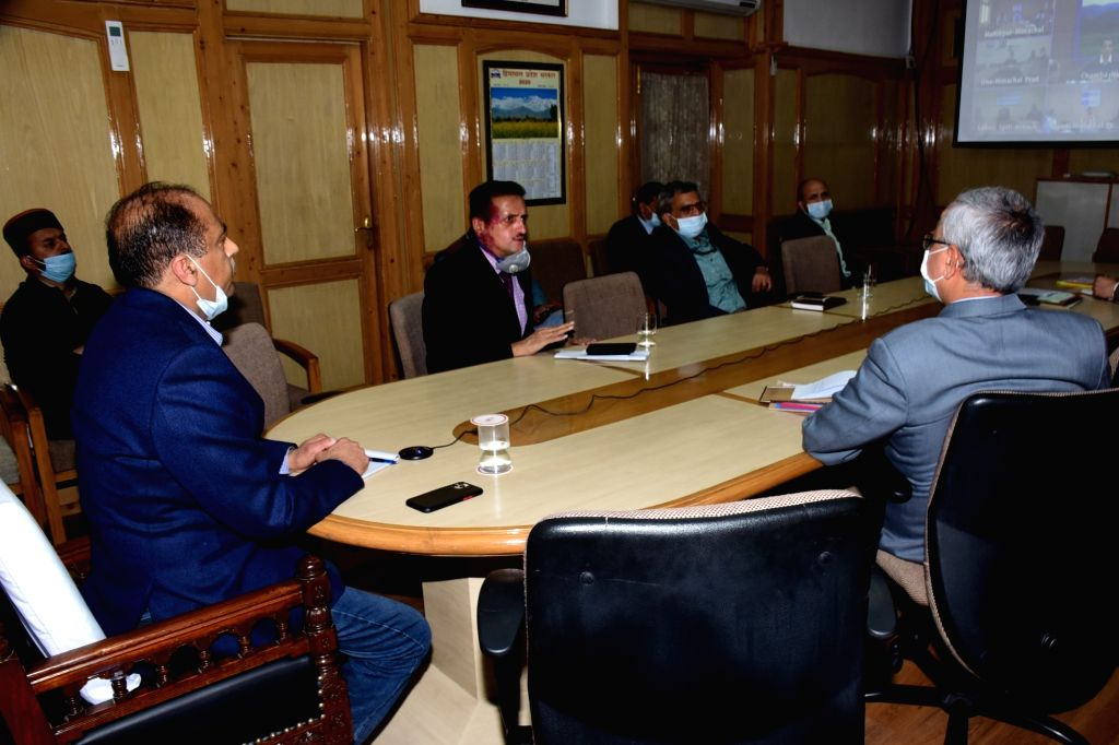 Himachal Pradesh Chief Minister Jai Ram Thakur holds video conference meeting in the wake of coronavirus with all the Deputy Commissioners, Superintendents of Police and Chief Medical ... - Jai Ram Thakur