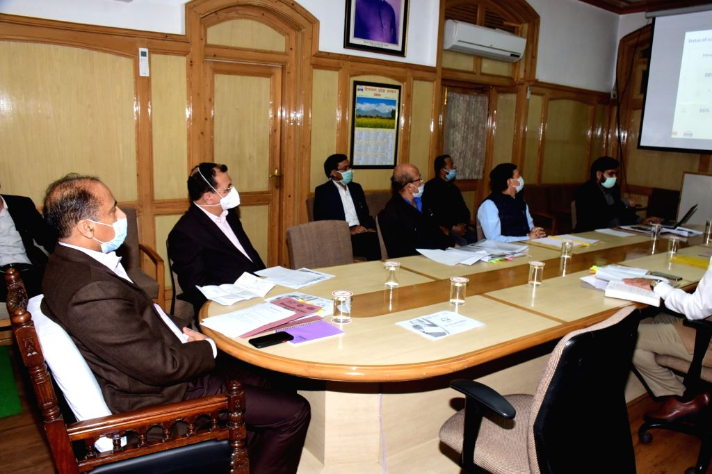 Himachal Pradesh Chief Minister Jai Ram Thakur chairs a meeting with the state Education Department in Shimla where he launched ???Har Ghar Pathshala??? programme to provide home-based ... - Jai Ram Thakur