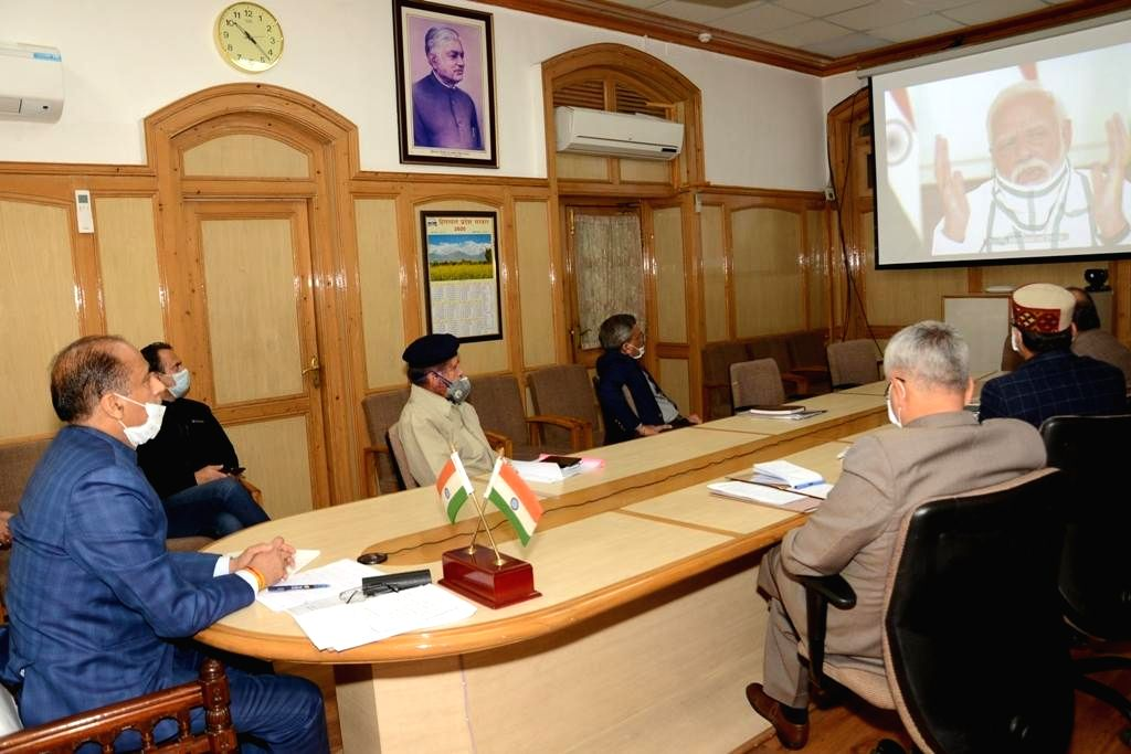 Himachal Pradesh Chief Minister Jai Ram Thakur attends the 4th interaction with Chief Ministers of all states and Union territories chaired by Prime Minister Narendra Modi through video ... - Jai Ram Thakur and Narendra Modi