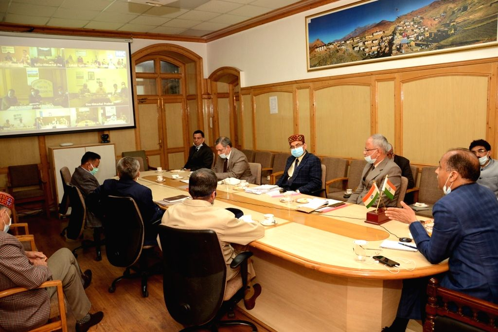 Himachal Pradesh Chief Minister Jai Ram Thakur holds a video conference meet with Deputy Commissioners, Superintendents of Police and Chief Medical Officers of the state in Shimla where he ... - Jai Ram Thakur