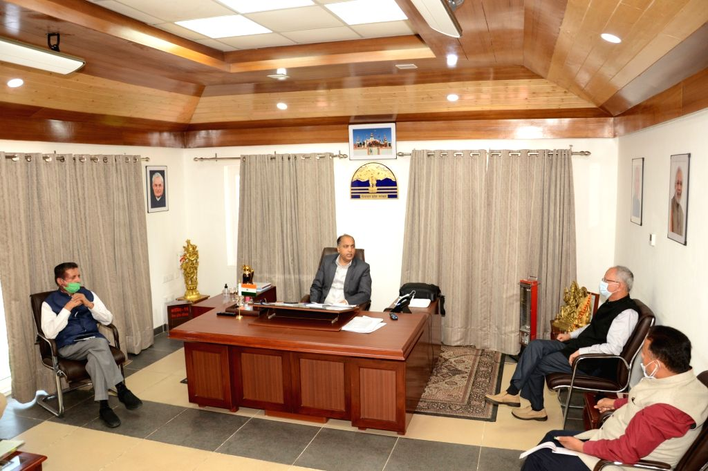 Himachal Pradesh Chief Minister Jai Ram Thakur presides over a meeting with the senior officers of the State Government to review the situation in the wake of coronavirus pandemic, in Shimla ... - Jai Ram Thakur