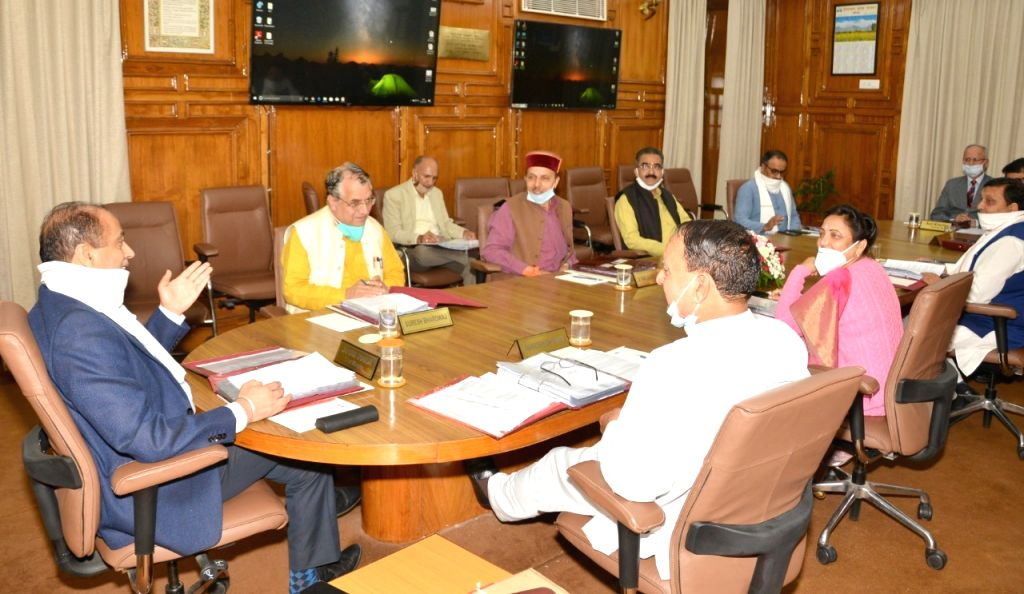 Himachal Pradesh Chief Minister Jai Ram Thakur chairs a Cabinet meeting in Shimla on June 25, 2020. - Jai Ram Thakur