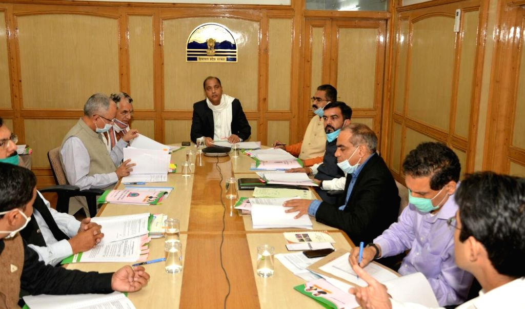 Himachal Pradesh Chief Minister Jai Ram Thakur presides over the 7th meeting of Board of Directors of H.P. Kaushal Vikas Nigam, in Shimla on July 3, 2020. - Jai Ram Thakur