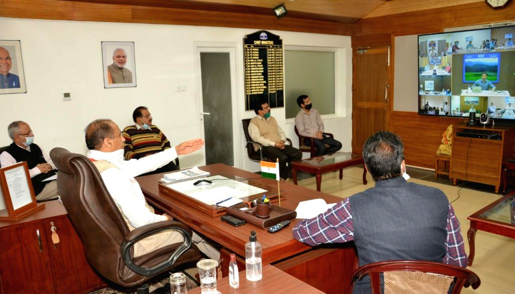 Himachal Pradesh Chief Minister Jai Ram Thakur holds a video conference meeting with the Deputy Commissioners and Block Development Officers of the State, in Shimla on July 4, 2020. - Jai Ram Thakur