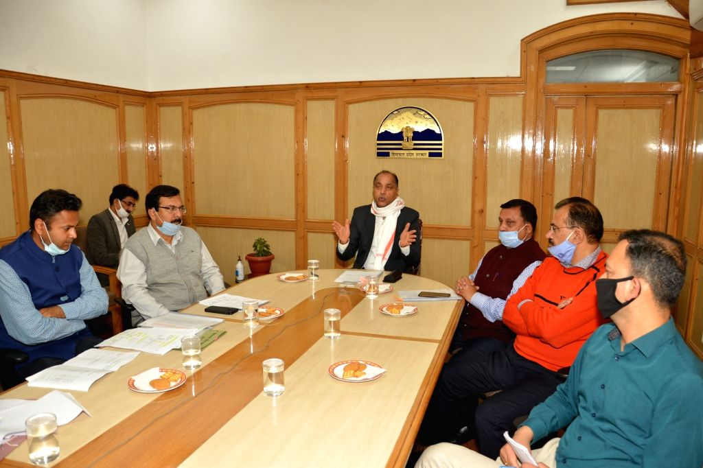 Himachal Pradesh Chief Minister Jai Ram Thakur interacts with the beneficiaries of housing schemes through video conferencing from Shimla on July 10, 2020. - Jai Ram Thakur
