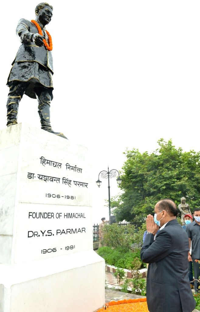 Himachal Pradesh Chief Minister Jai Ram Thakur pays floral tributes to the Founder and first Chief Minister of Himachal Pradesh Dr. Y.S.Parmar on his birth anniversary at his statue at the ... - Jai Ram Thakur