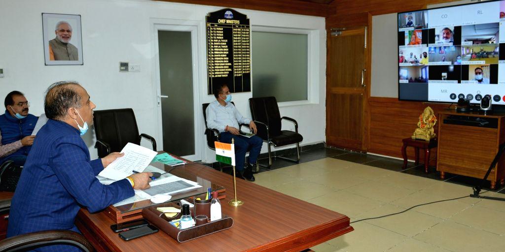 Himachal Pradesh Chief Minister Jai Ram Thakur interacts with the beneficiaries of various schemes of Seraj Vidhan Sabha area through video conferencing, from Shimla on Aug 12, 2020. (Phot0: ... - Jai Ram Thakur